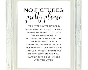 No Pictures Pretty Please Printable Wedding Sign, 8x10 Digital Wedding Sign, Unplugged Wedding, No Photos Wedding Ceremony, Wedding Signage
