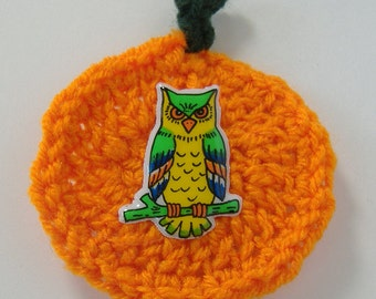 Crocheted Pumpkin Pin with Owl