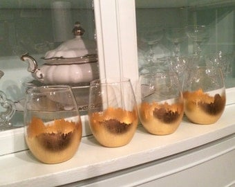 2 Gold Leaf Stemless Wine Glasses