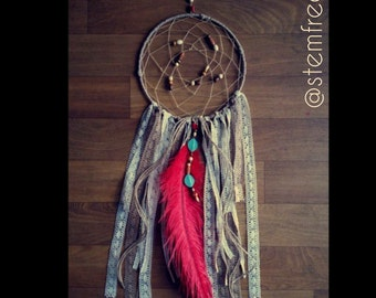 Gorgeous Dream Catcher - Large Red Feather