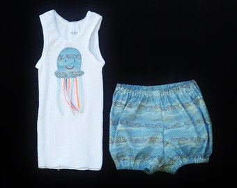 "Baby girls Jellyfish outfit, Blue outfit for girls, Clothing for baby girls, size 6-12 months, ""READY TO SHIP"""
