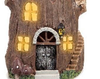 Fairy Garden Resin Lighted Mini Stump House 4.25 Inches   30007646