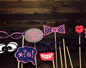 Photobooth props/ wedding photo booth props/ engagement party props/ birthday party props (set of 10)