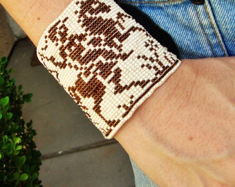 BEADED LEATHER Bracelet Wrap Adjustable Brown Cream Hand Made Medieval Knight Jouster Hand Sewn Renaissance Fair Jewelry Celtic Horse Unisex