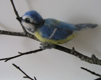 Bird, meise, hand felted