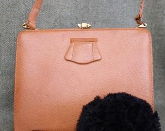 vintage tan leather 'waldybag' handbag, 1940s, 1950s, 1960s