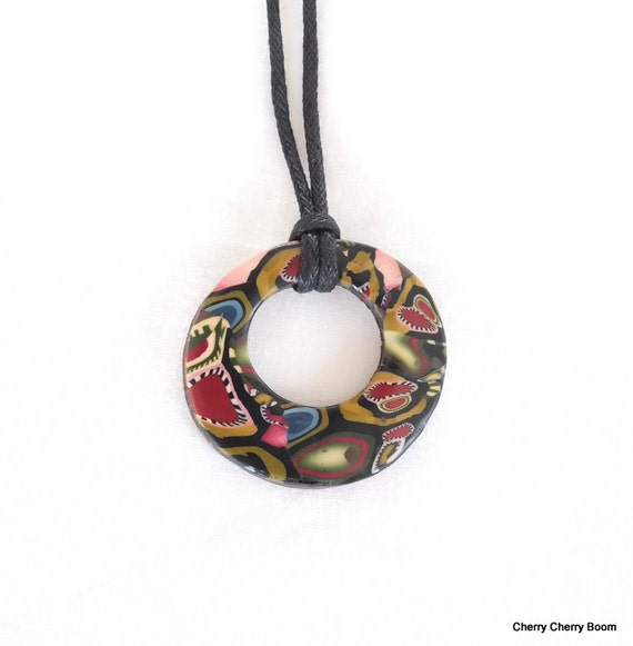 Gypsy pendant, polymer pendant, necklace, pendant necklace, jewellery, polymer clay, colourful,  fimo, unique pendant, hippie, boho, gypsy