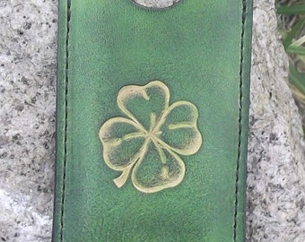 "Leather Card holder , design Clover, colour ""vert anis"" (16 colours available)"