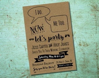Fun Kraft Paper Wedding Celebration Invitation