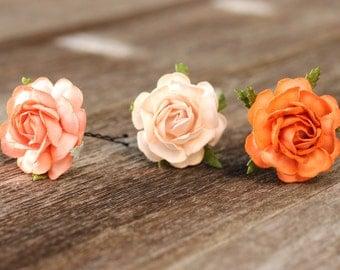 Orange Peach Flower Hair Pins Floral Bobby Pins Coral Bridal Hair Picks Floral Bobby Pins Bridal Hair Accessories Bridesmaid Hair Pins Prom