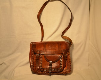 Vintage 1970's Handmade Brown Leather Handbag - Shoulder Bag