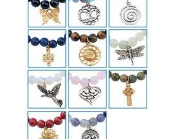 Crystal Gemstone Charmed Intention Bracelets