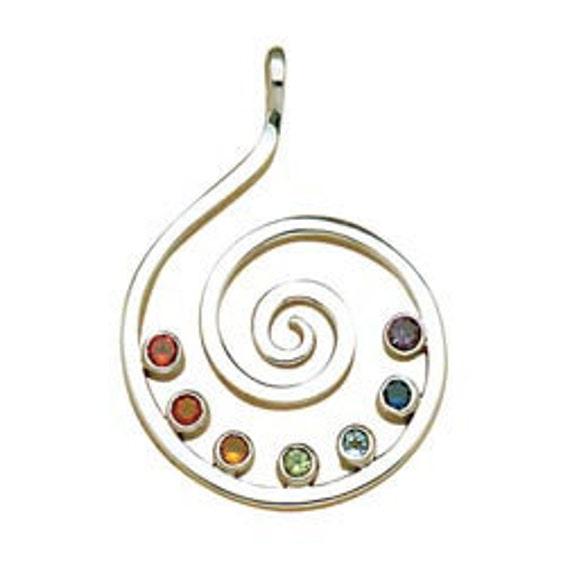 Amethyst Sterling Chakra Spiral Pendant
