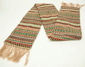 Vintage Shetland Wool Patterned Scarf