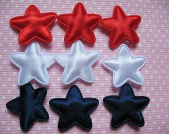 Set of 20 Padded Red/ White/ Blue Satin Star appliques trim/scrapbooking/diy/hair bows