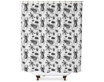 Black and white vintage insect illustration shower curtain