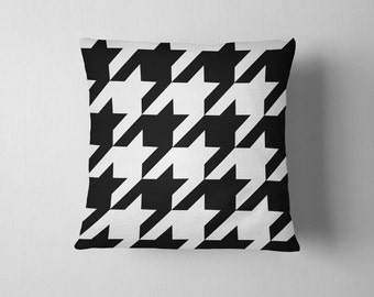 Oversized black and white houndstooth throw pillow