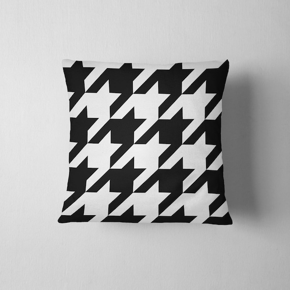 Black And White Houndstooth Throw Pillows : Oversized black and white houndstooth throw pillow