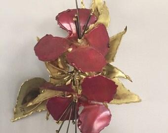 Vintage Metal Flower Sculpture signed by Michigan based artist Stephen Vat