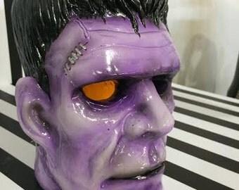 Large Hand Painted Ceramic Frankenstein Monster Head Kustom Kulture