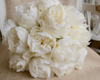 Luxury ivory peony wedding bouquet. Made with artificial peonies.