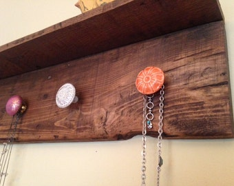 Pallet Wood Shelf with Knobs, Pallet wood Coat Rack, Repurposed wood shelf with knobs, Wood Jewelry Hanger, Wood Jewelry organizer