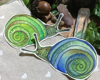 Scrapbooking Nature Stickers, Green & Blue Snails - Set of 2