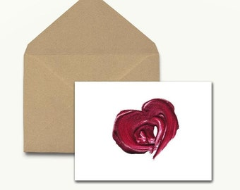 Lip Gloss Heart Note Cards – Boxed Set of 10 With Envelopes