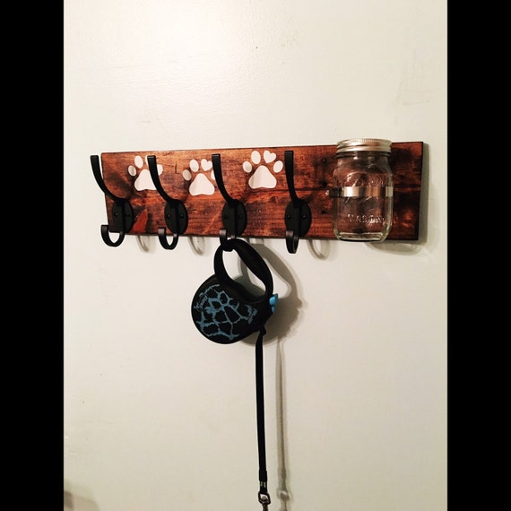 Dog Leash Holder Wall Mounted Mason Jar By Palletinspirations