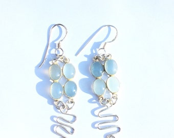 Sterling Silver Chalcedony Cabochon Earrings