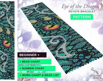 Peyote Bracelet Pattern - Eye of the Dragon Design - GOT Game Of Thrones Peyote Bracelet Cuff DIY