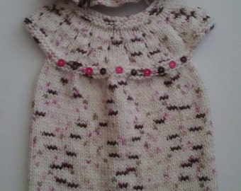 Hand knit toddler dress and hat