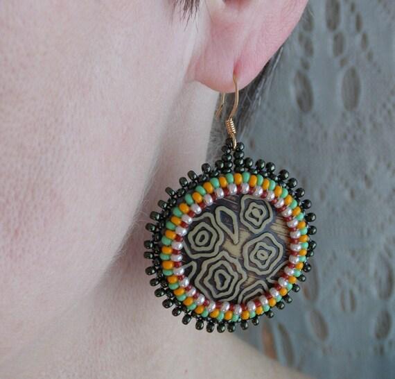 African earrings Bohemian earrings Boho earrings beadwork jewelry African ethnic earrings Tribal earrings