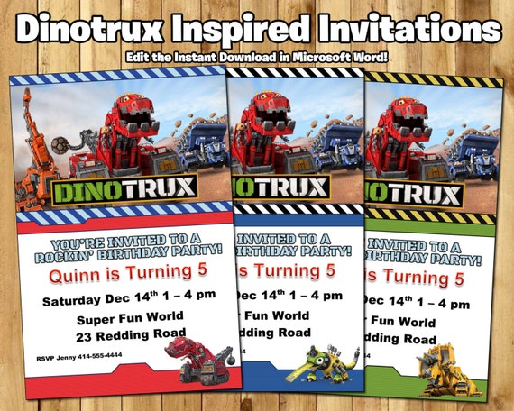 DIY Dinotrux Birthday Invitations - Download Customize with Word Dinotrux Invites Dinotrux Invitations Dinotrux Party Invites