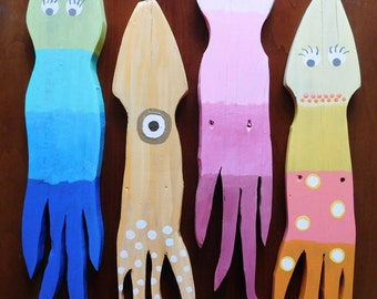 Wood Fence Picket Multi-Colored Jelly Fish or Squid