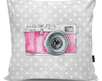 Decorative pillow Camera pink