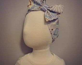 Baby Bow Headband - Light Blue Floral