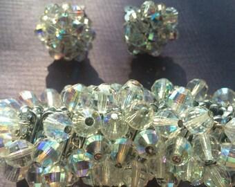 Hollywood glam glitter bracelet and clip on earrings