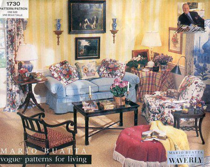 Free Us Ship Vogue 1730 Mario Buatta Slipcover Pillows Table Toppers Sewing Pattern Out of Print Old store stock like new