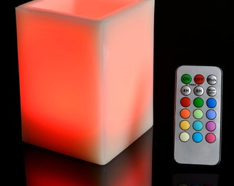 Square Pillar Flameless Led Candle - Color Changing Flame w/Remote Control - LE021