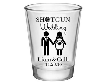 50x Custom Funny Shot Glasses Personalized Wedding Favors | 1.75 oz Clear |  Shotgun Wedding (1A) | Choose Imprint