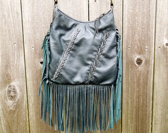 Blue/Black Braided Fringe Leather Bag