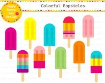 40% off Popsicles / Colorful Popsicles / Fruit Popsicles / Ice Pops Clip Art - Instant Download - C009