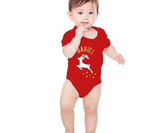 Baby Personalized Name Christmas Baby Grow with Reindeer, Stars & Gold Lettering / Red Romper Suit