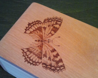 Pyrography wood box with butterfly