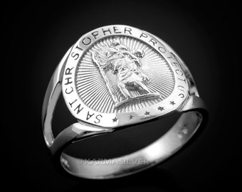 925 Sterling Silver St. Christopher Protection Medallion Ring