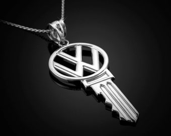 White Gold VW Volkswagen Key Pendant Necklace - 10k, 14k