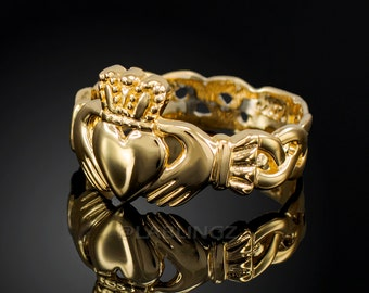 Solid Gold Claddagh Ring - Ladies Yellow Gold Celtic Band Irish Claddagh Ring