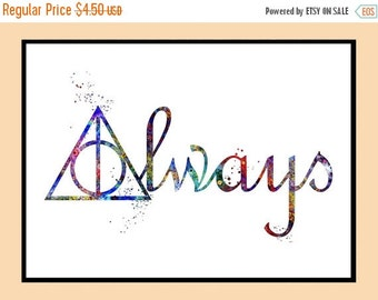 ON SALE 50% OFF Harry Potter, Deathly Hallows Always, Watercolor print, Deathly Hallows Symbol, Deathly Hallows, Art, Instant Download