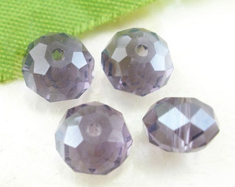 20 Purple Faceted Crystal Glass Rondelle 8mm x 5.5mm 5040 Beads J03852